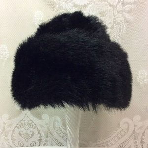 Vintage Black Faux Fur Winter Hat OS